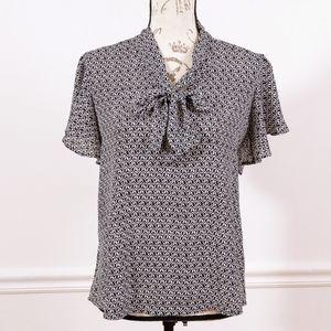 LOFT short sleeves black & white blouse, size XS